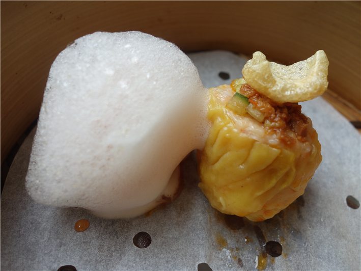 prawn with citrus foam plus pork dumpling
