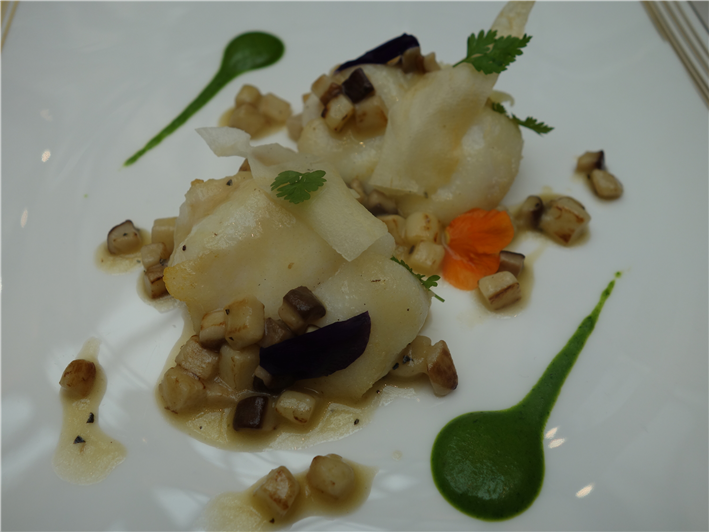 monkfish with potato puree