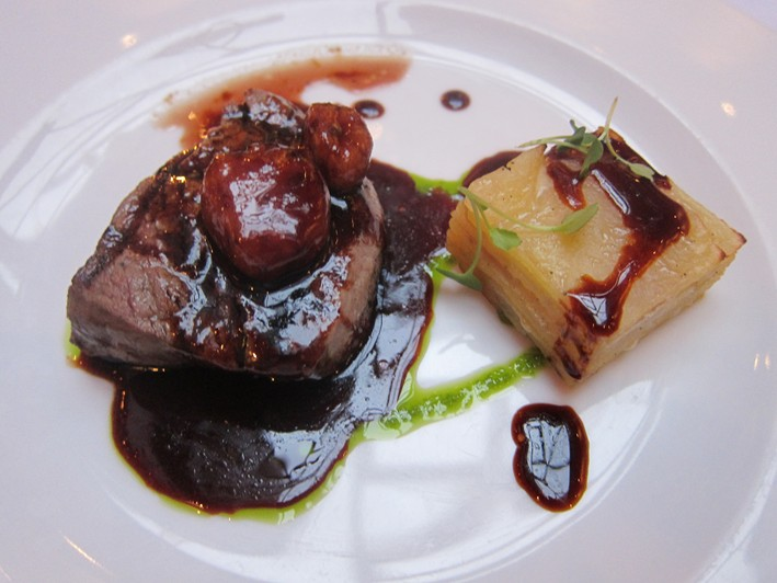 beef with potato millefeuille