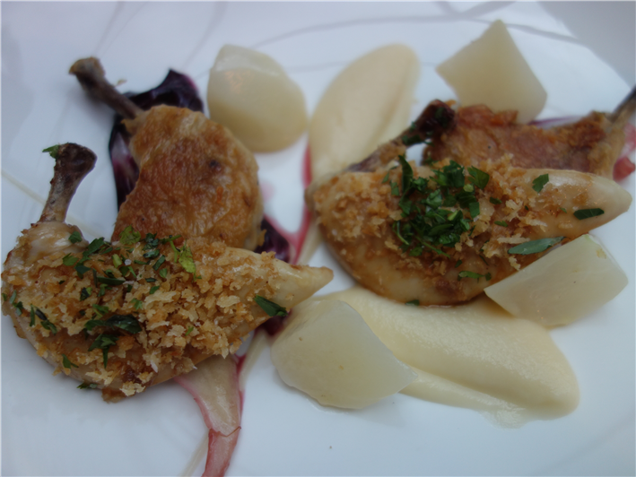chicken with turnip puree