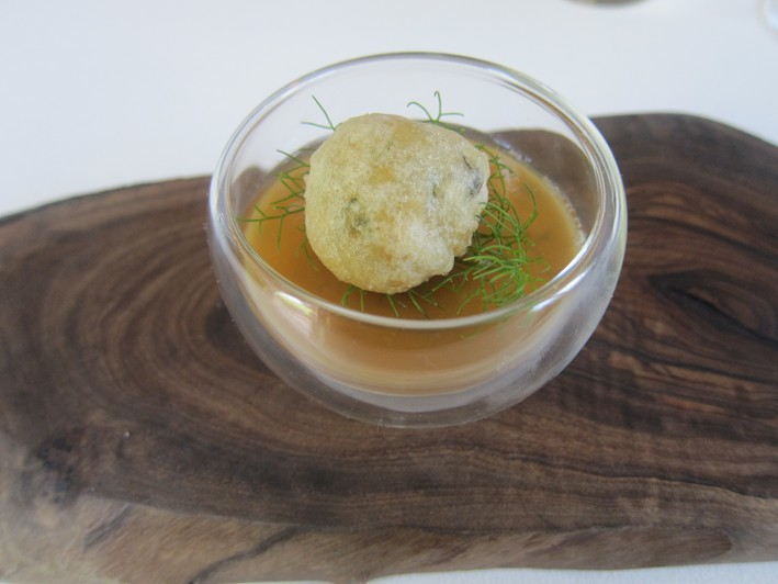 snail tempura and langoustine mousse