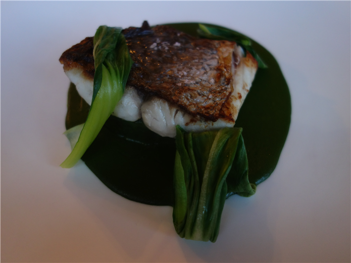 stone bass with gai lan