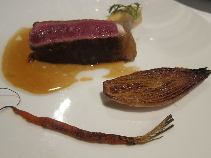 aged beef with sweet shallot