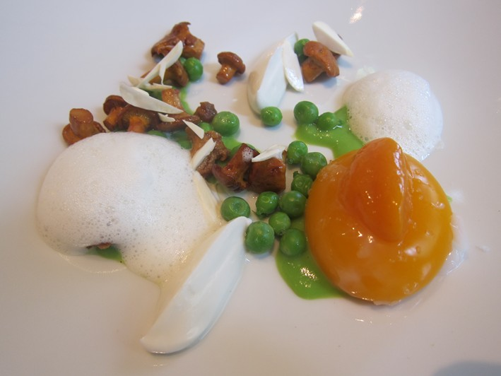 peas egg and mushrooms