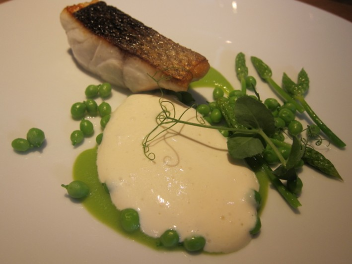 sea bass and peas