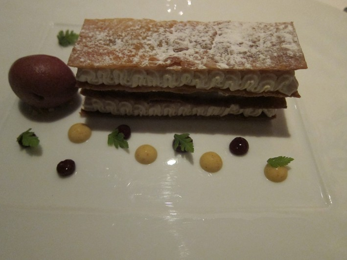 millefeuille of blackberries and pear