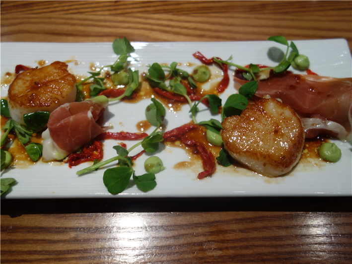 scallops and ham